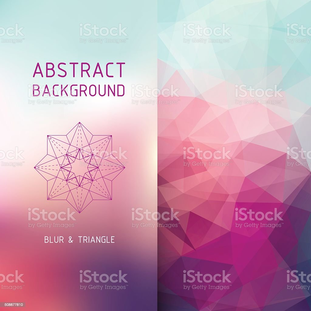 Vector square polygonal and blurred background vector art illustration