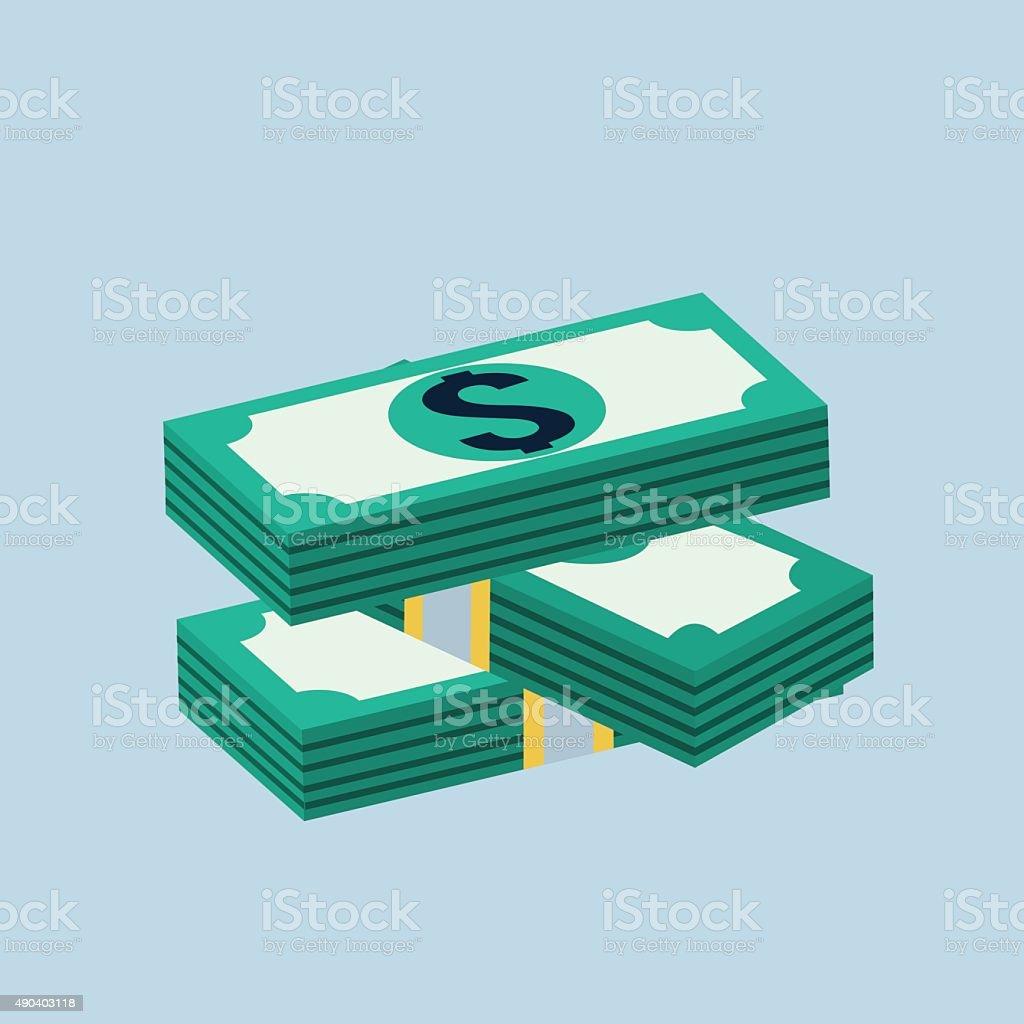 Vector stack of dollars icon vector art illustration