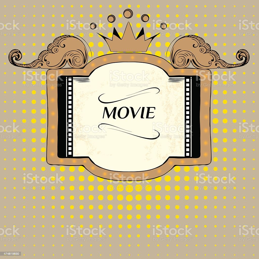 Vector stage with blank billboard. Movie marquee vector. Movies vector art illustration
