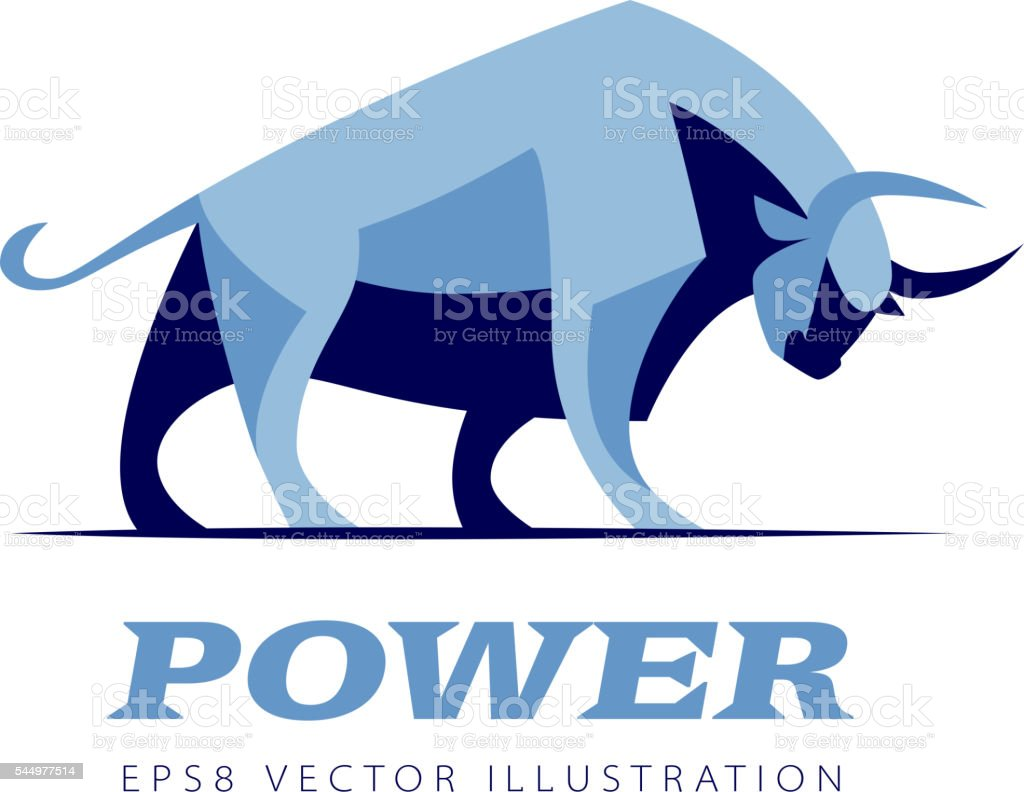 Vector standing bull vector art illustration