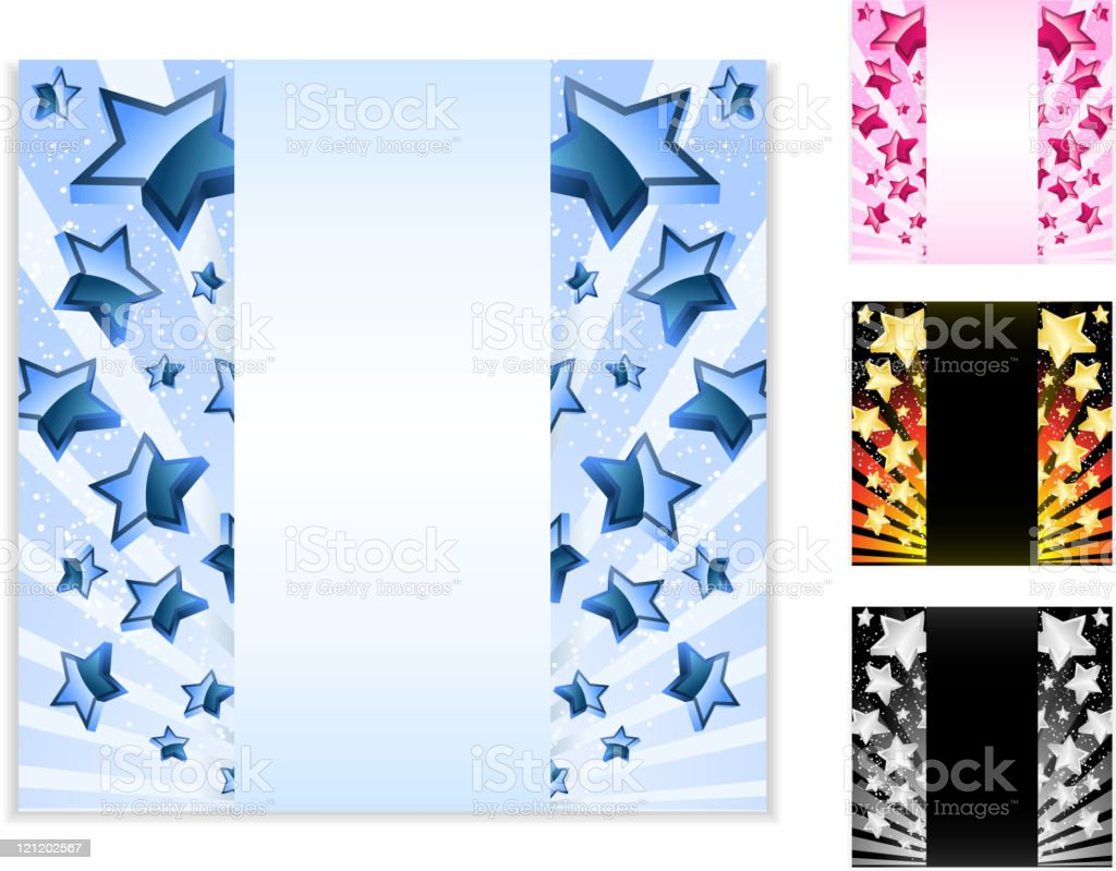 Vector - Star Card with Stripes. Set of 4 layouts vector art illustration