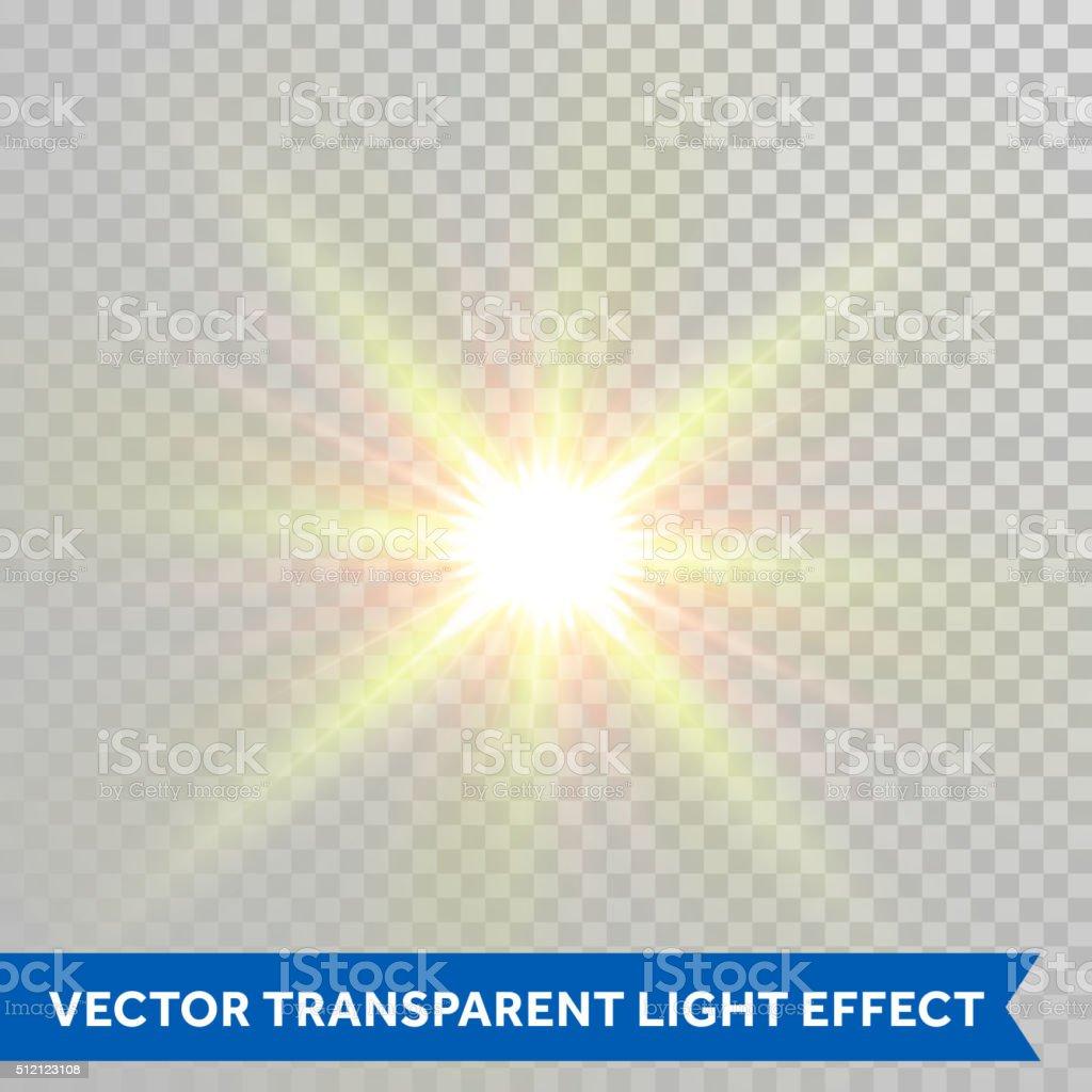 Vector star light radiance. Sparkling sun rays shining lens flare vector art illustration