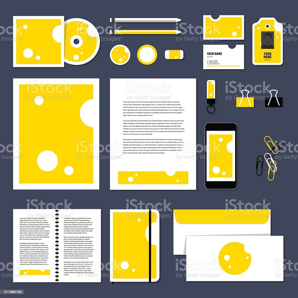 Vector stationery template design with Triangular piece cheese. vector art illustration