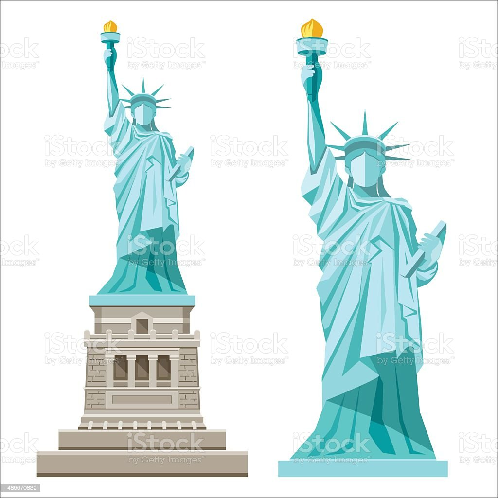 Vector Statue of liberty of america vector art illustration