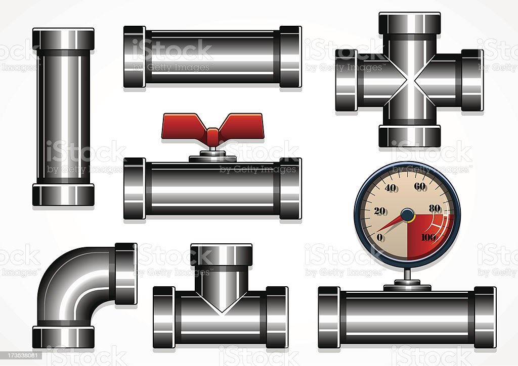 vector steel pipes royalty-free stock vector art