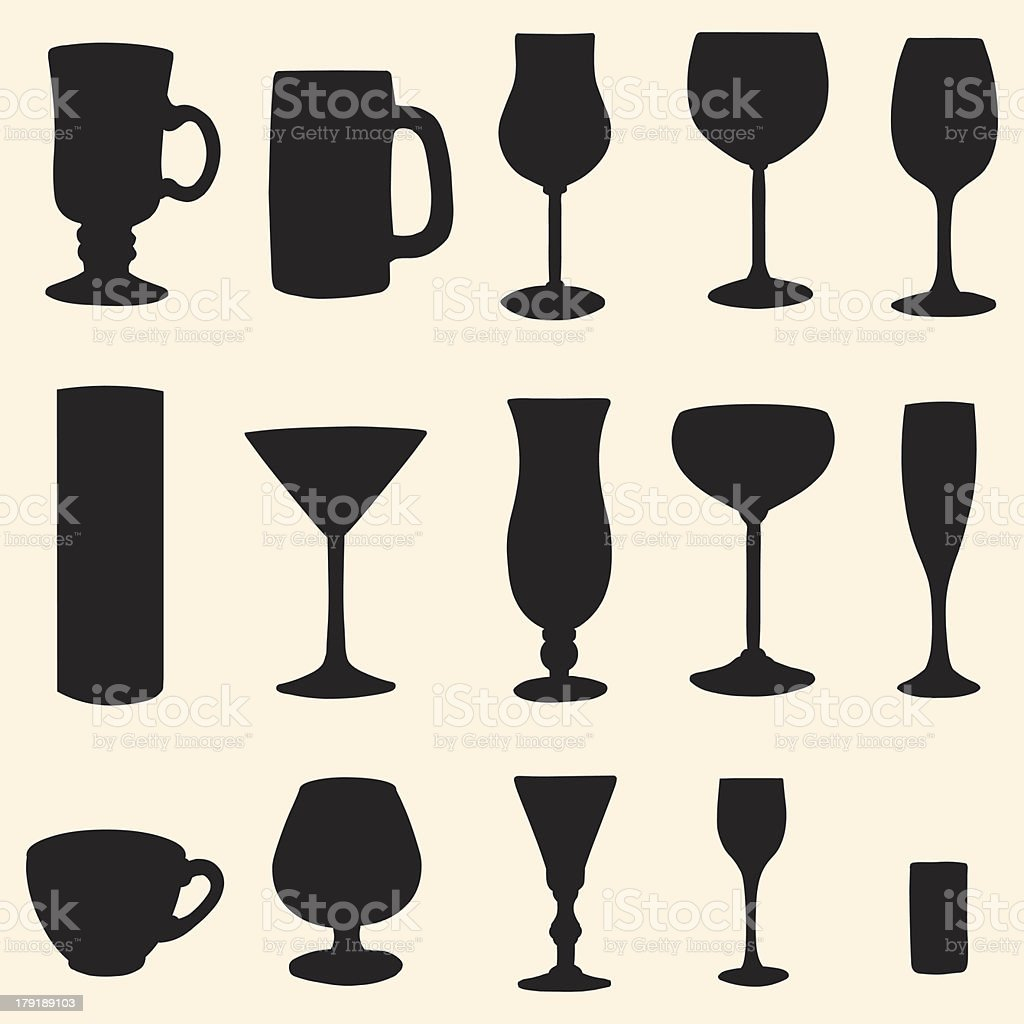vector stemware icon's set royalty-free stock vector art