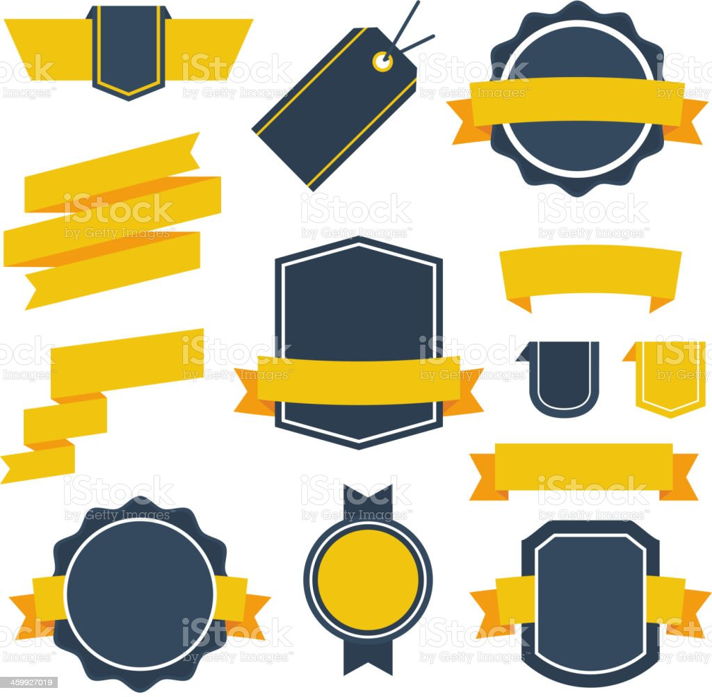 Vector Stickers and Badges Set 2. Flat Style. vector art illustration