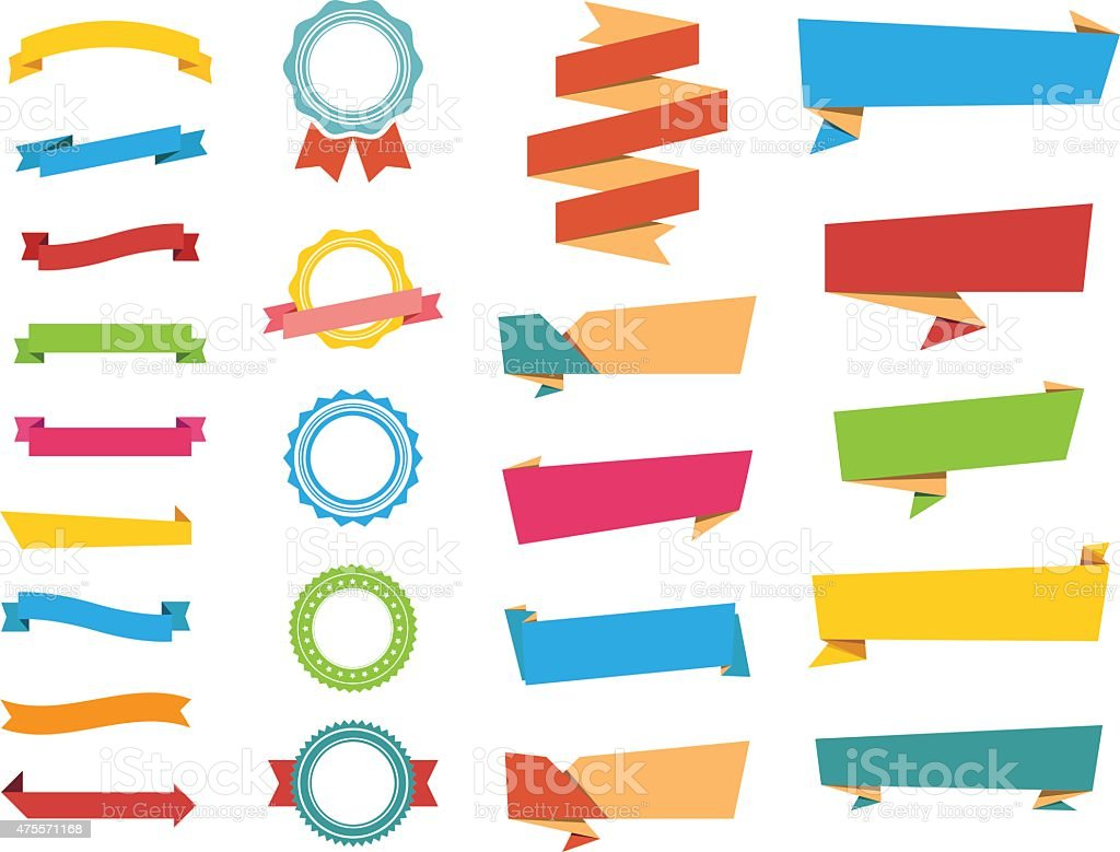 Vector Stickers, Labels Banners and Ribbons vector art illustration