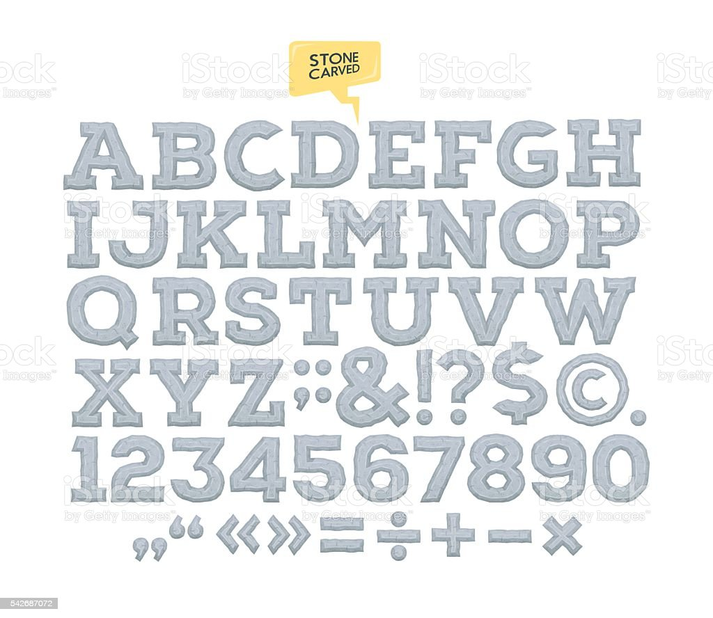 Vector stone carved alphabet. Letters. numbers made of stone. vector art illustration