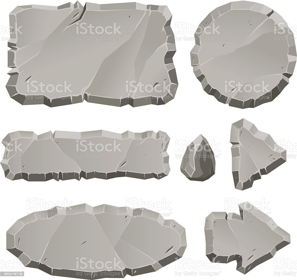 Vector stone design elements for game and web vector art illustration