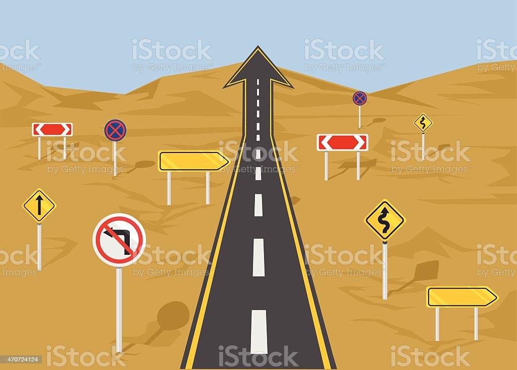 Vector straight road flat illustration vector art illustration