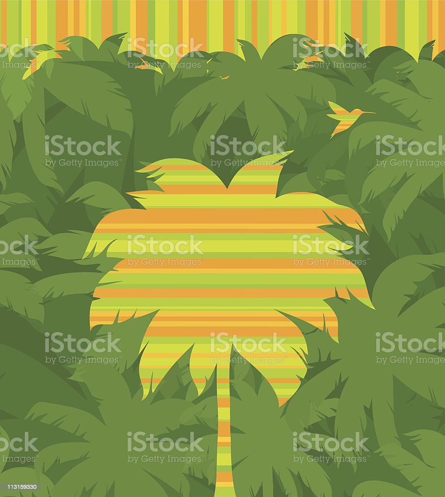 Vector striped tropical palm tree & flying humming-bird royalty-free stock vector art