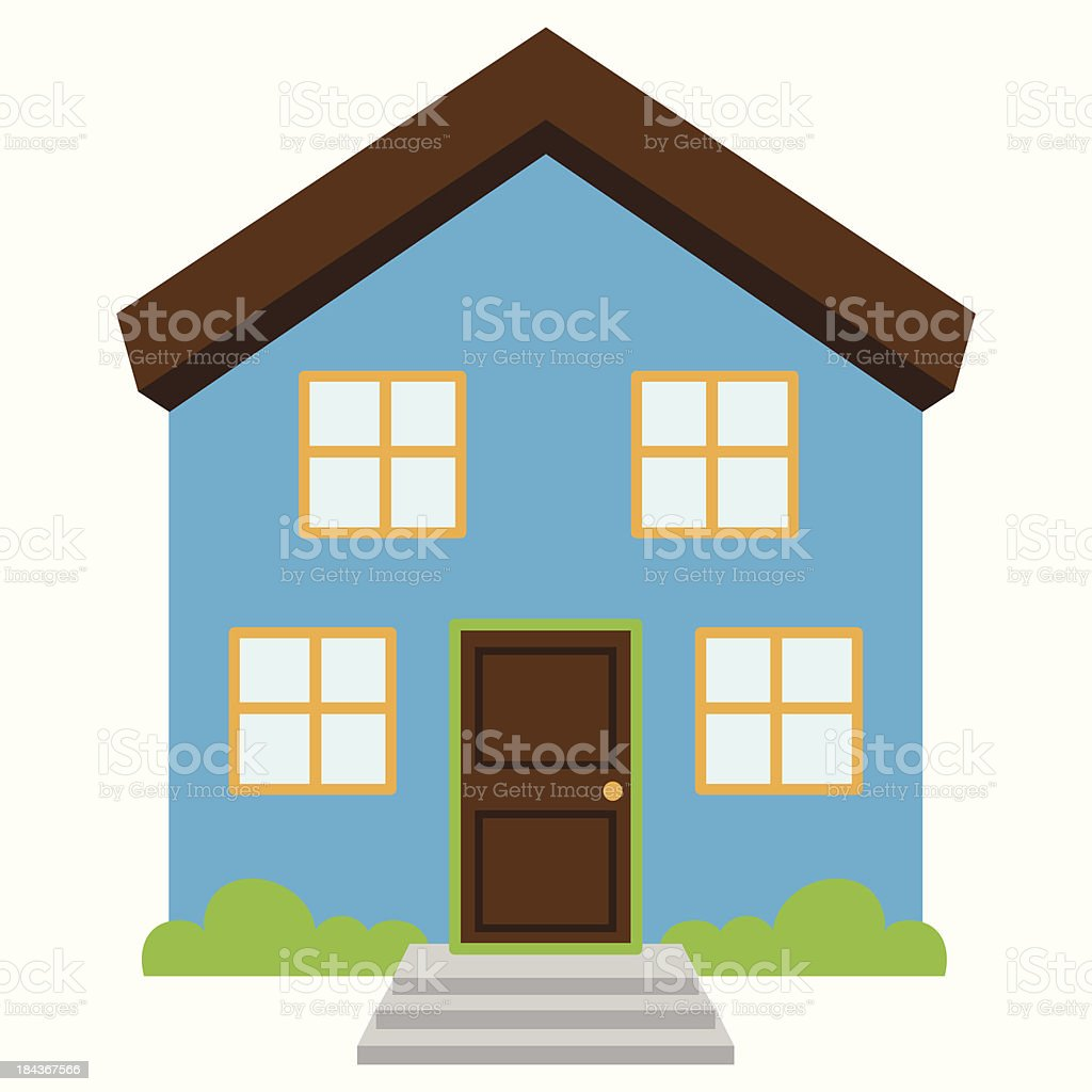 A vector style drawing of a cute blue house vector art illustration