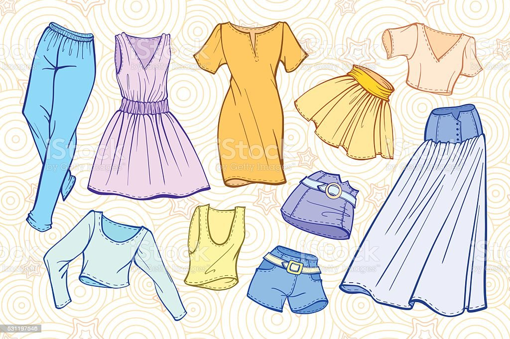 Vector stylish fashion set of woman's clothes vector art illustration