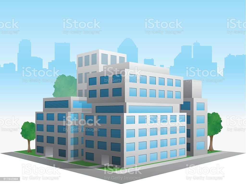 Vector stylized altered generic corporate modern office building vector art illustration
