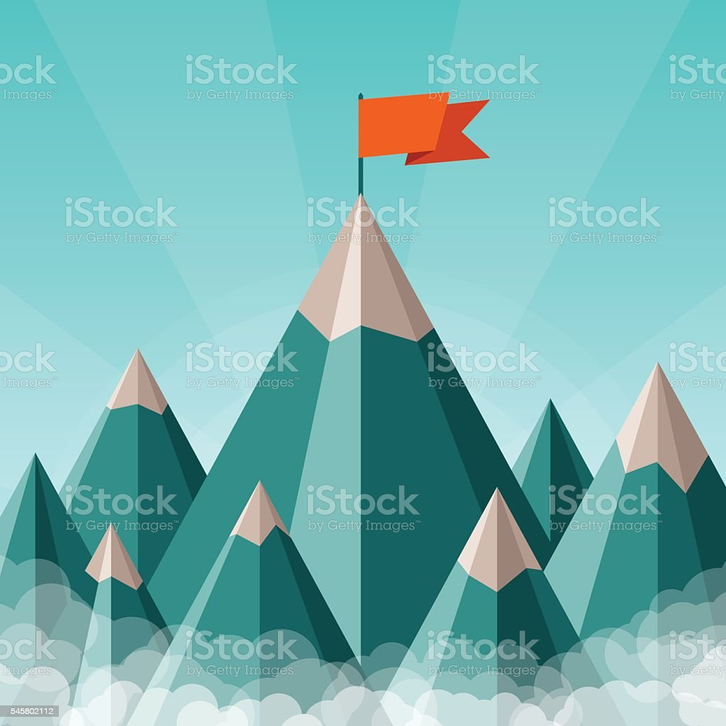 Vector success and leadership concept with mountain landscape vector art illustration
