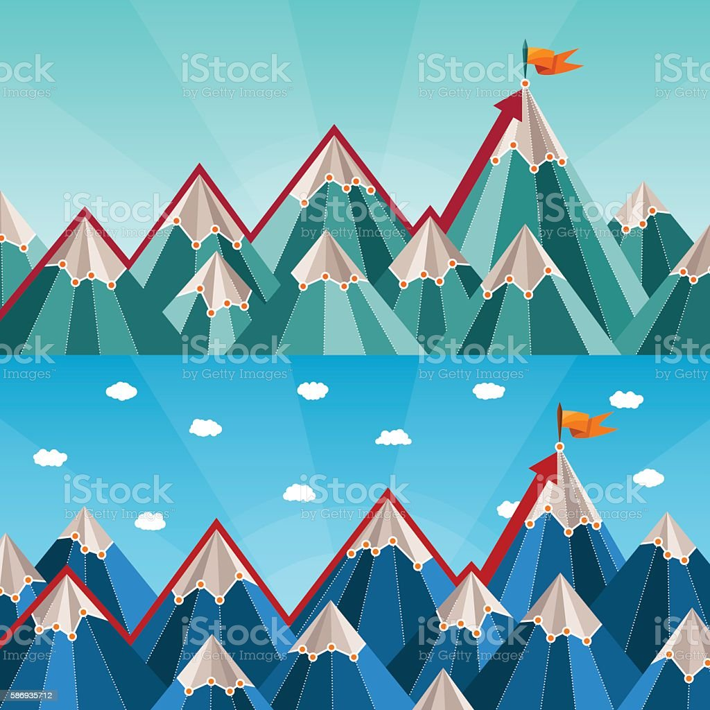 Vector success and leadership horizontal banners with mountain landscape vector art illustration