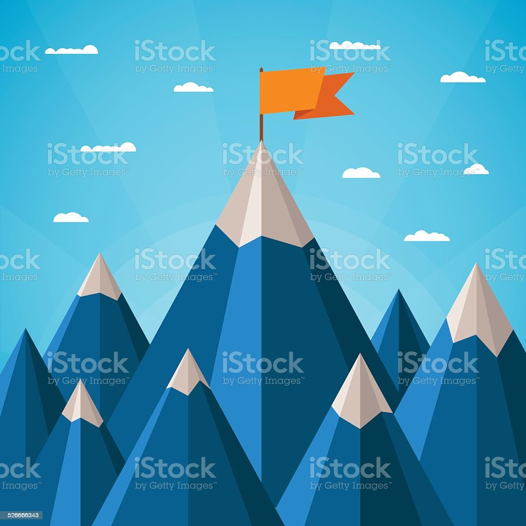 Vector success concept with mountain landscape vector art illustration