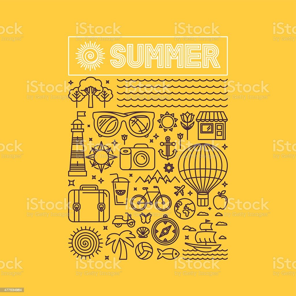 Vector summer and vacation poster vector art illustration