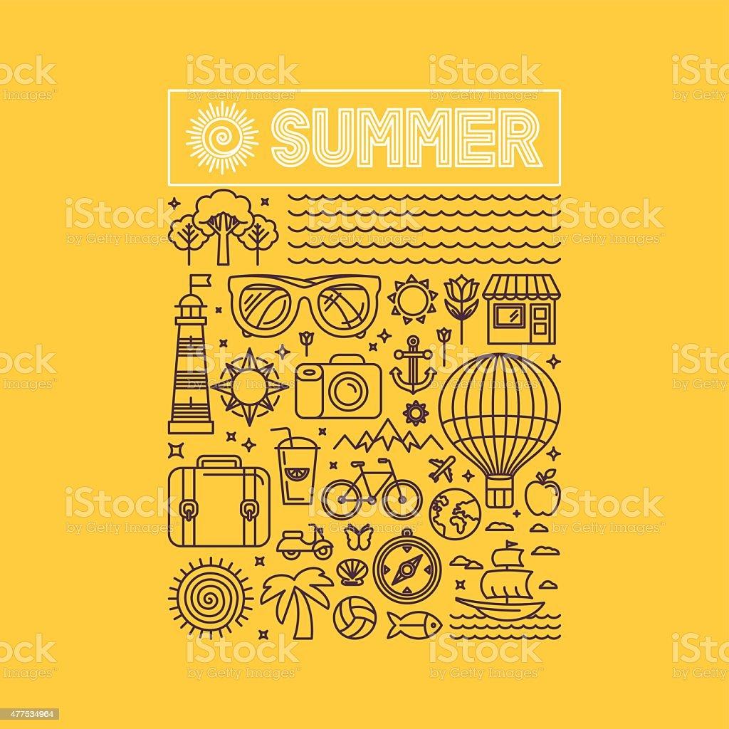 Vector summer and vacation poster vector art illustration