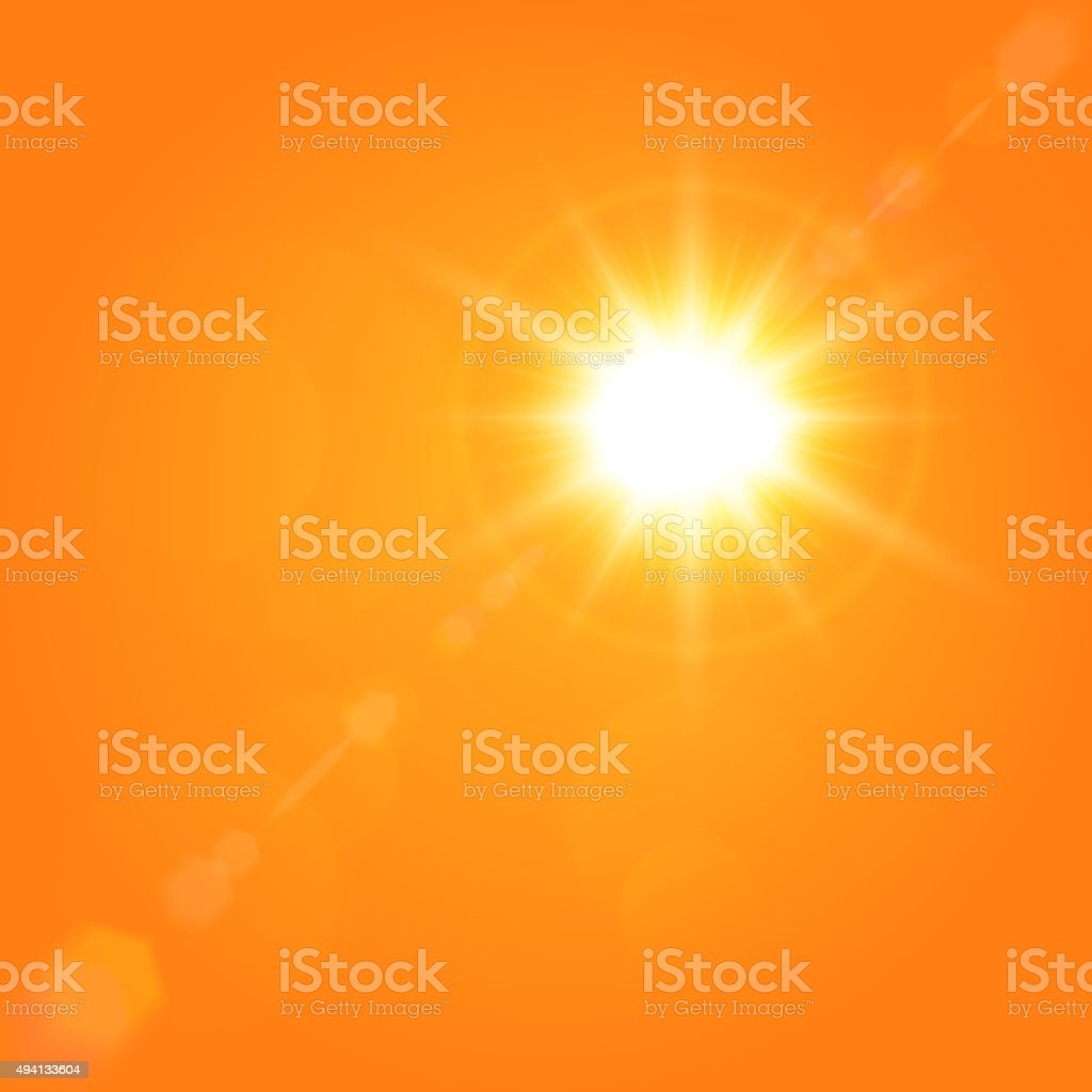 Vector summer background with a magnificent sun beam vector art illustration