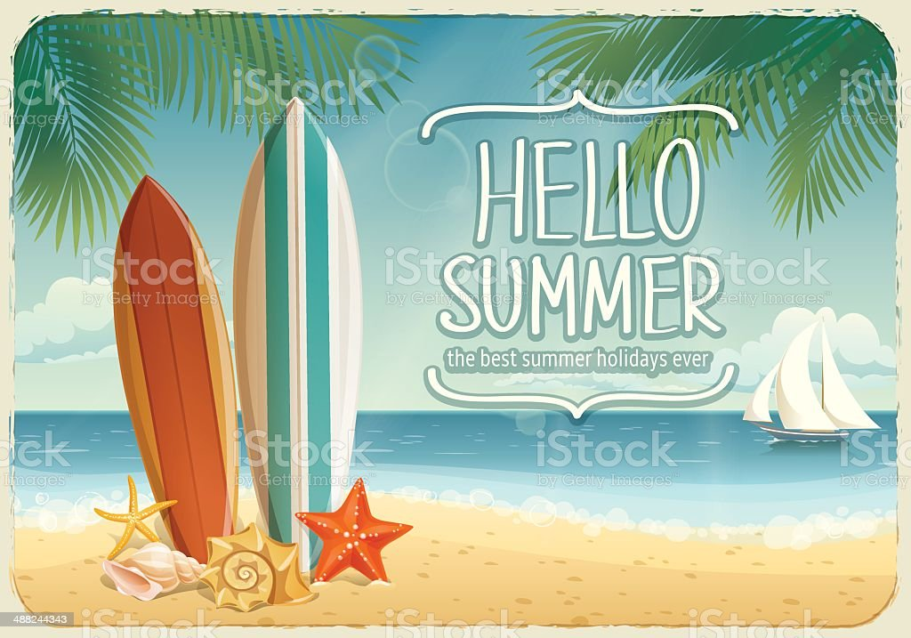 Vector summer background with holiday elements vector art illustration