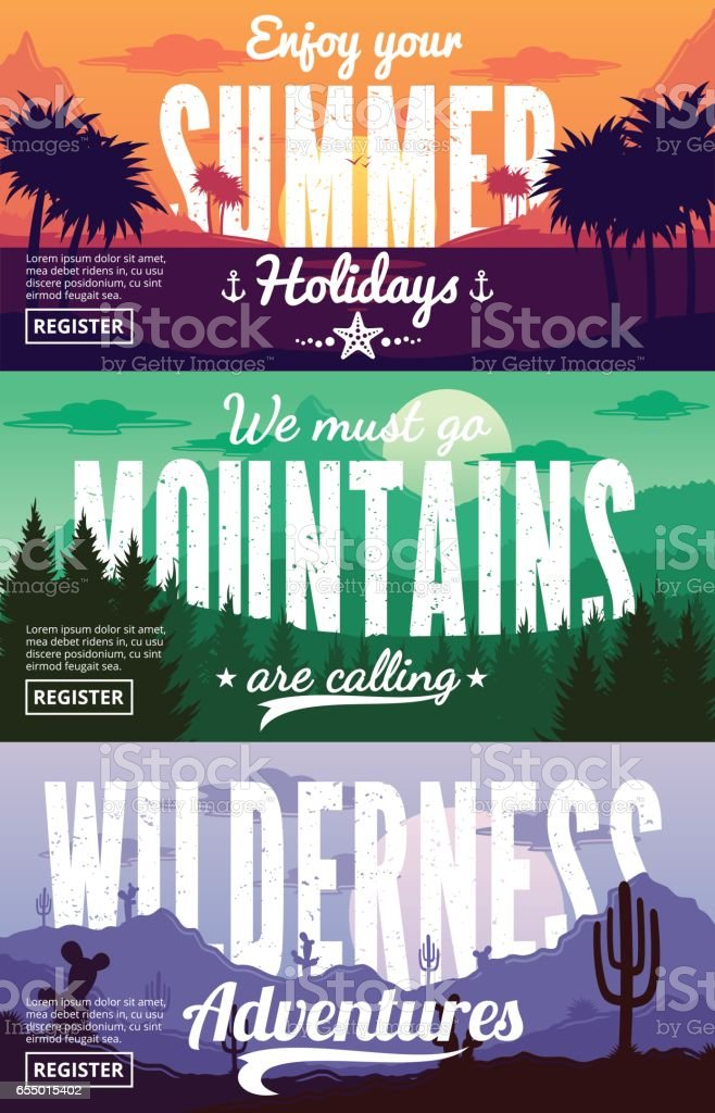 Vector summer, mountains and desert adventures banners vector art illustration