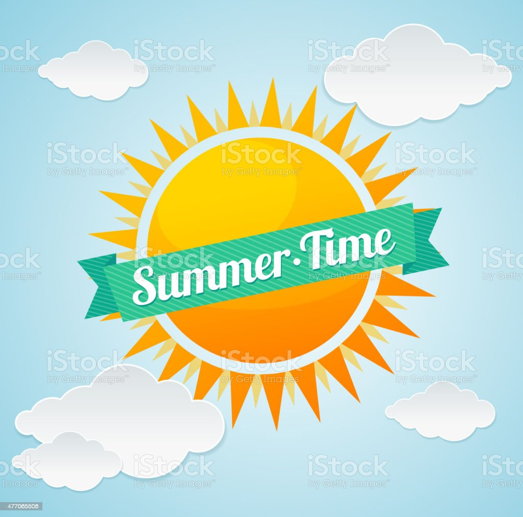 Vector summer time card vector art illustration