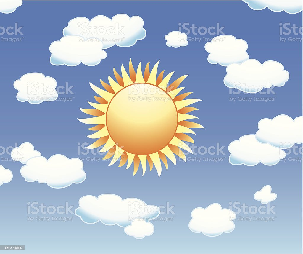 vector  sun and clouds royalty-free stock vector art