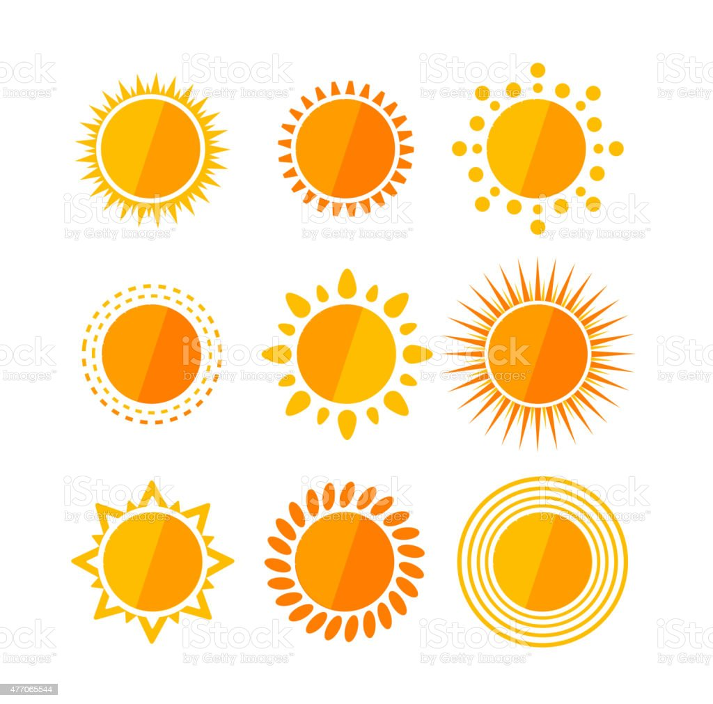 Vector sun flat set vector art illustration