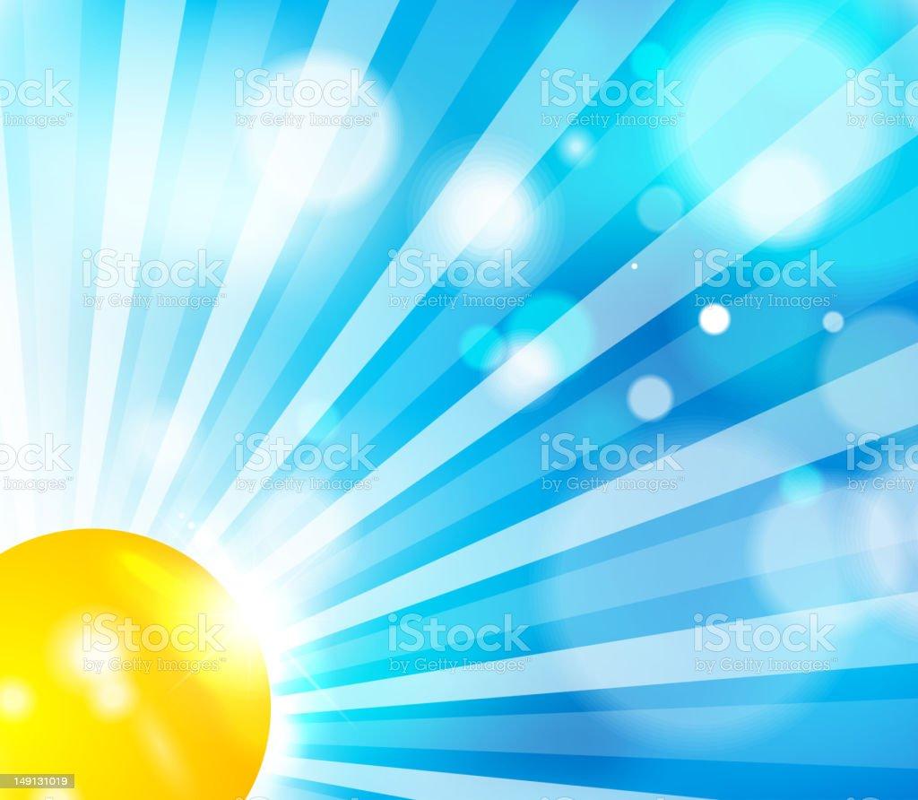Vector sun on blue sky royalty-free stock vector art