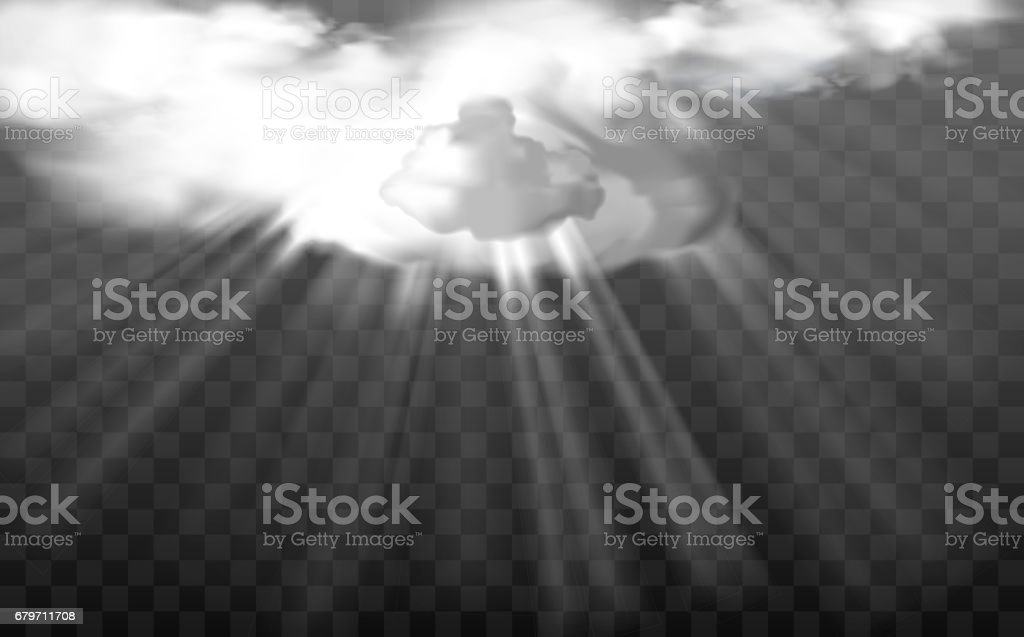 Vector sun rays through white fluffy clouds vector art illustration