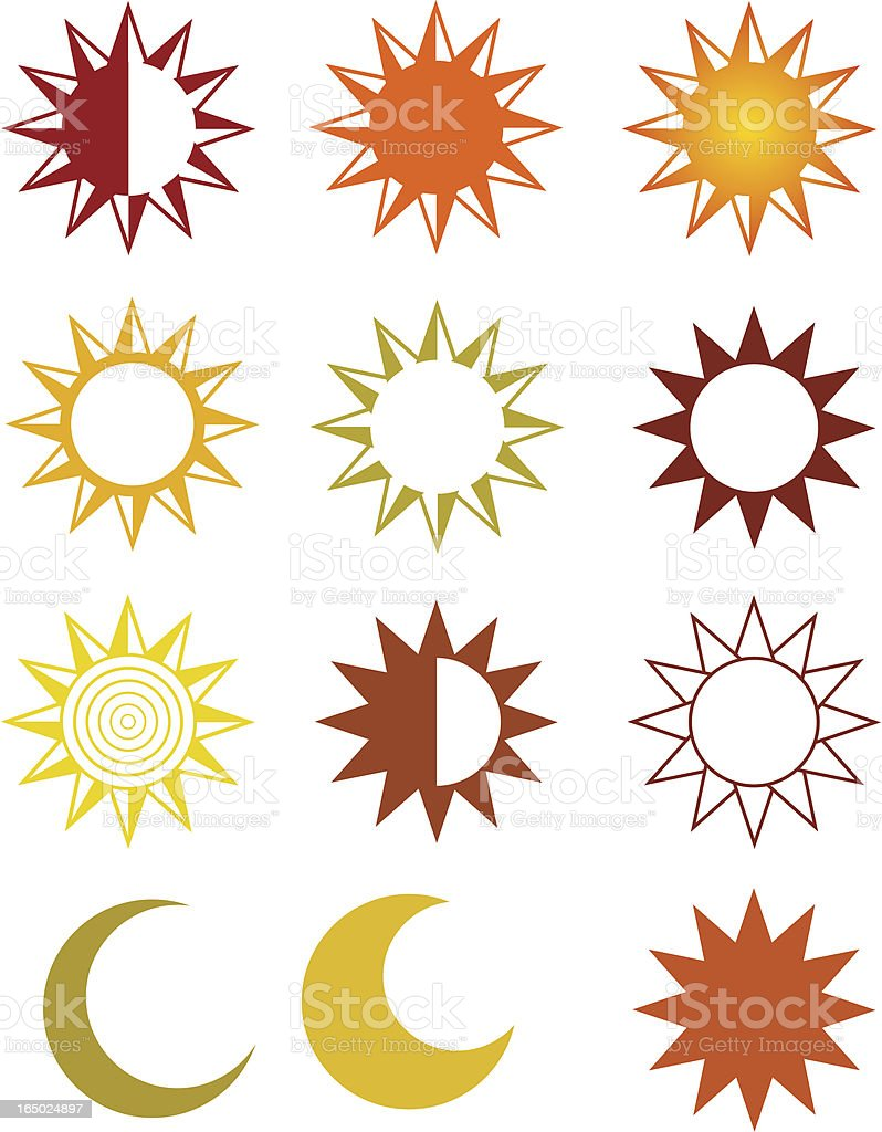 Vector Suns and Moons - Design Elements royalty-free stock vector art