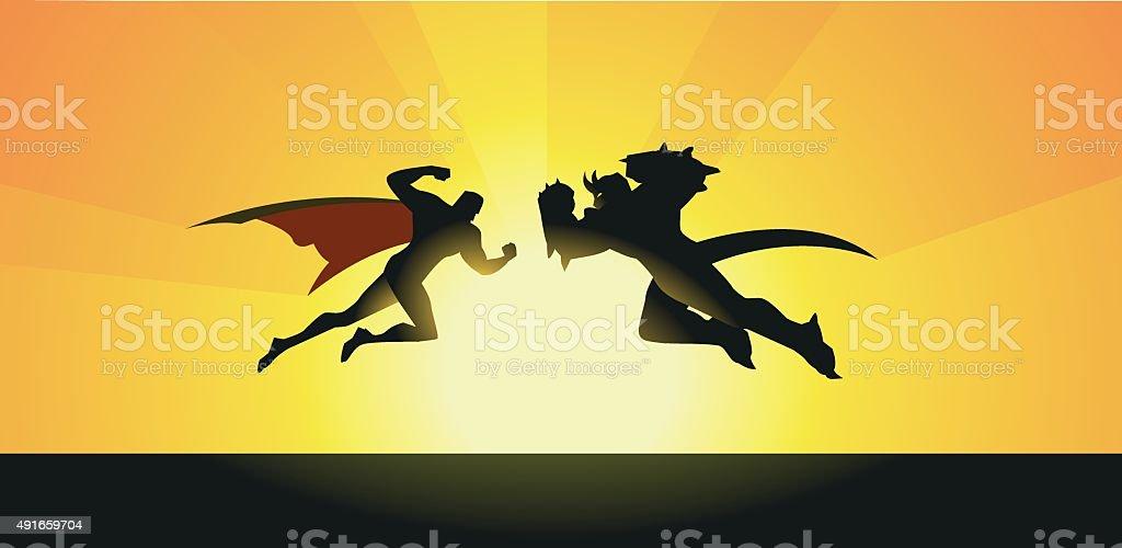 Vector Supeheroes vs Monster Silhouette vector art illustration