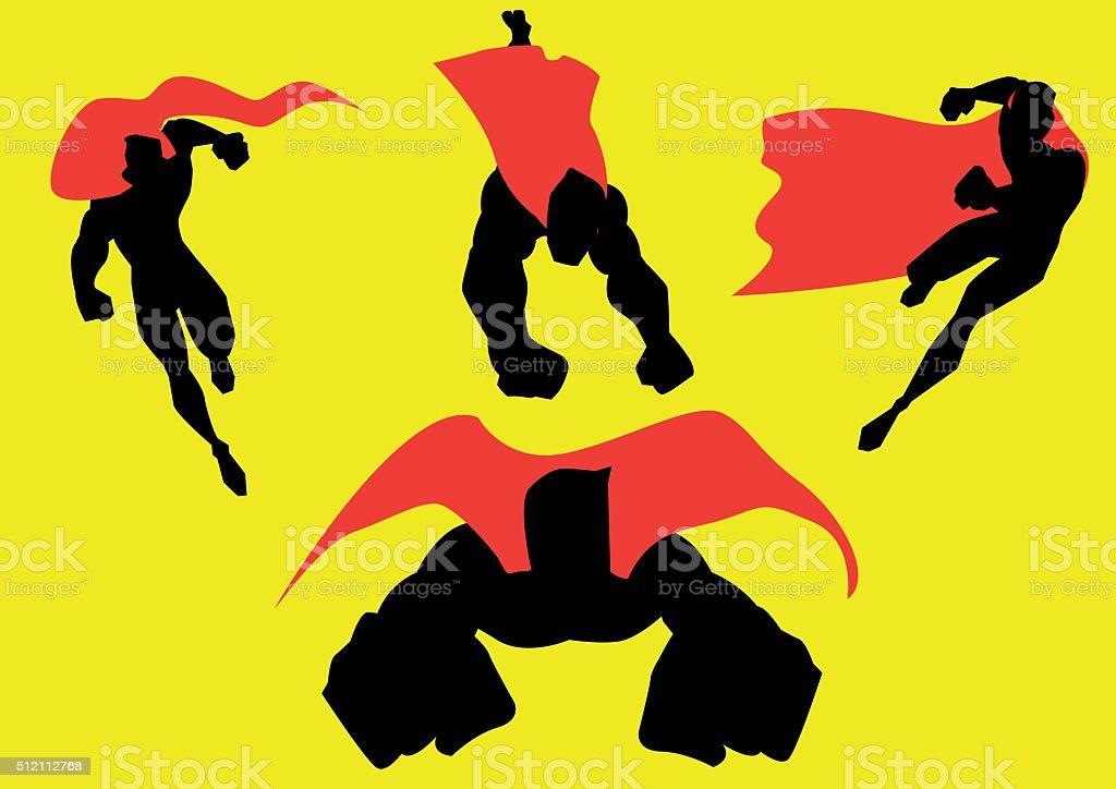 Vector Superhero Action Set Illustration vector art illustration