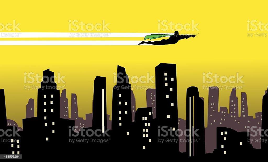 Vector Superhero flies over a city silhouette vector art illustration