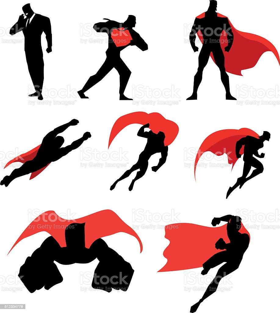 Vector Superhero Isolated Silhouette Set vector art illustration