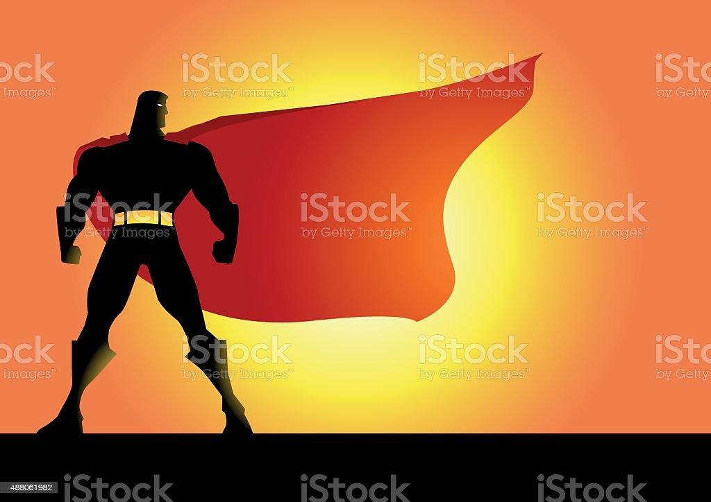 Vector Superhero Silhouette with a Big Cape vector art illustration