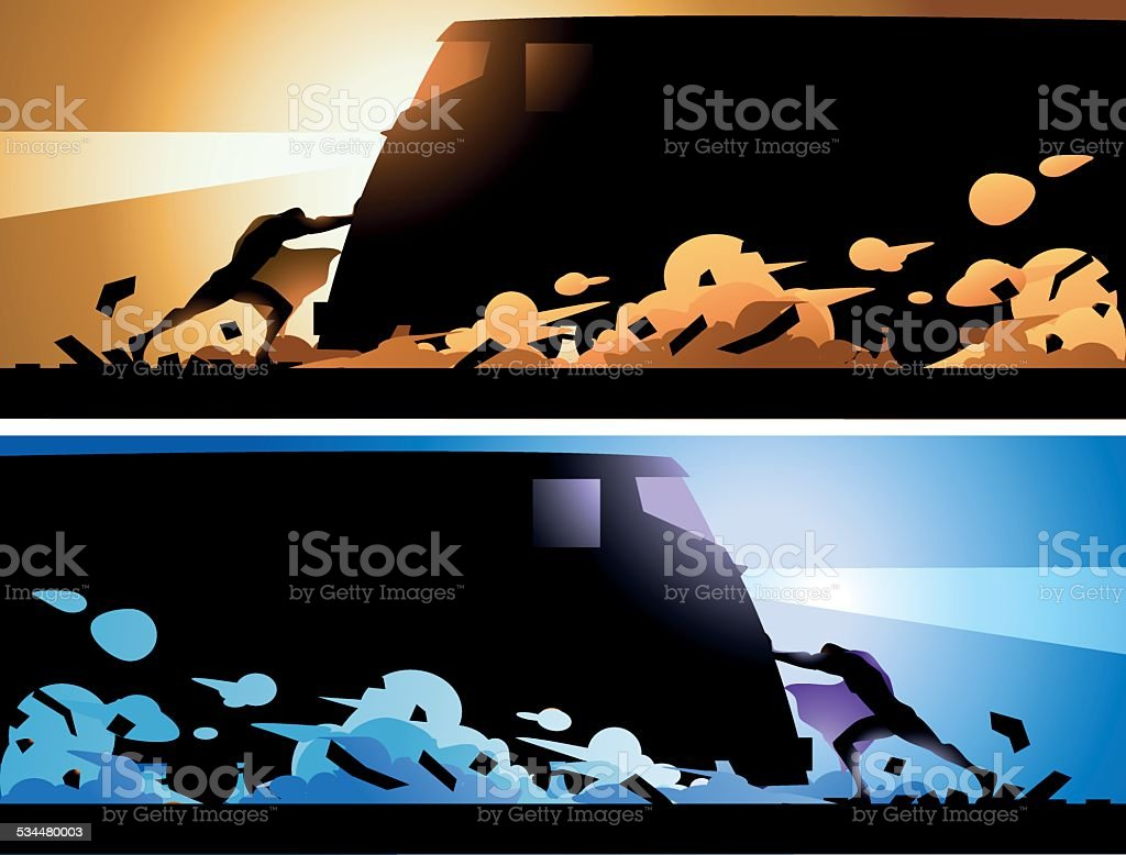 Vector Superhero Stopping a Train Silhouette vector art illustration