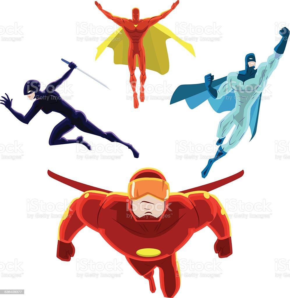 Vector Superhero Team Charging Forward vector art illustration
