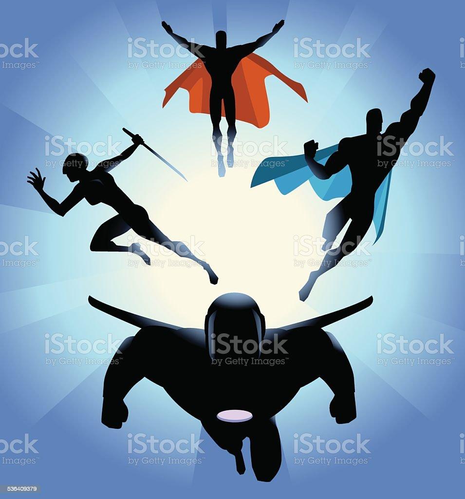 Vector Superhero Team Charging Silhouette vector art illustration