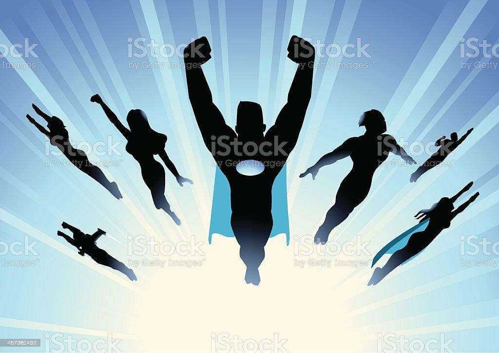 Vector Superhero Team Flying in blue burst background vector art illustration