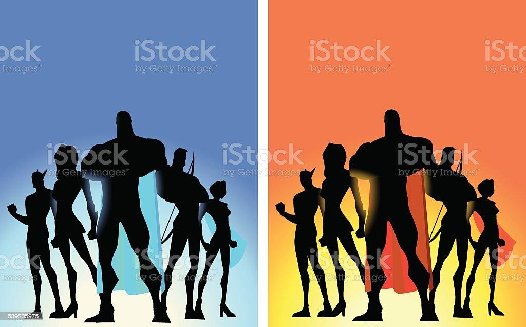 Vector Superhero Team Poster vector art illustration