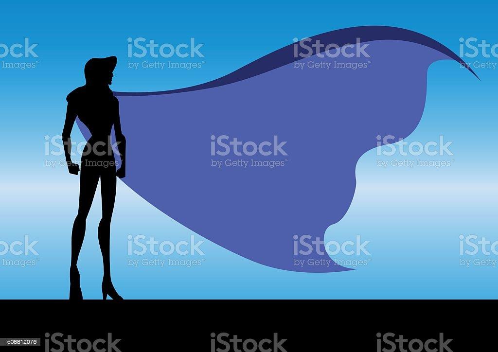 Vector Superhero Woman in Night Silhouette vector art illustration