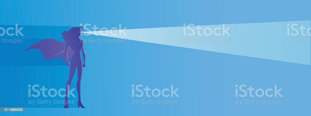 Vector superhero woman shooting an x-ray light vector art illustration