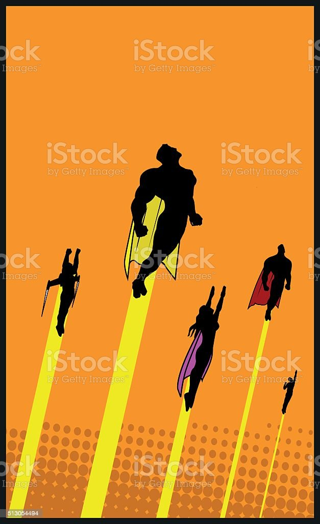 Vector Superheroes Launch to the air silhouette vector art illustration