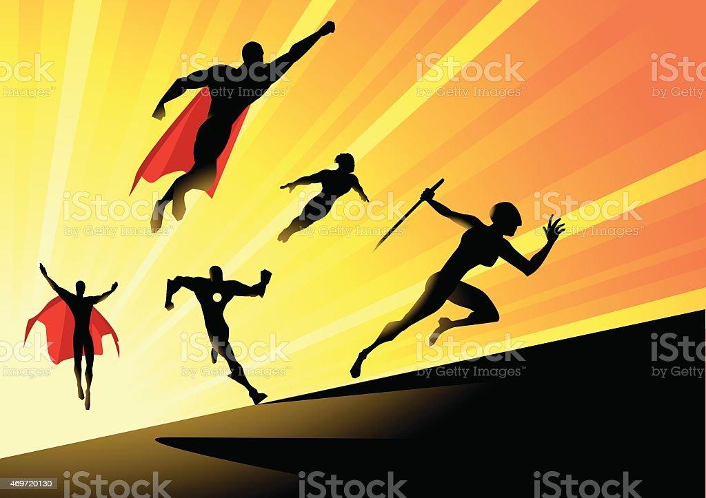 Vector Superheroes Team Charge vector art illustration