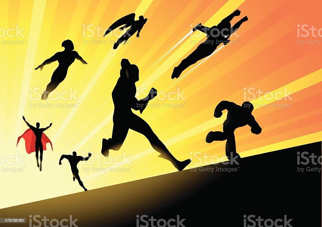 Vector Superheroes Team Charging Forward vector art illustration