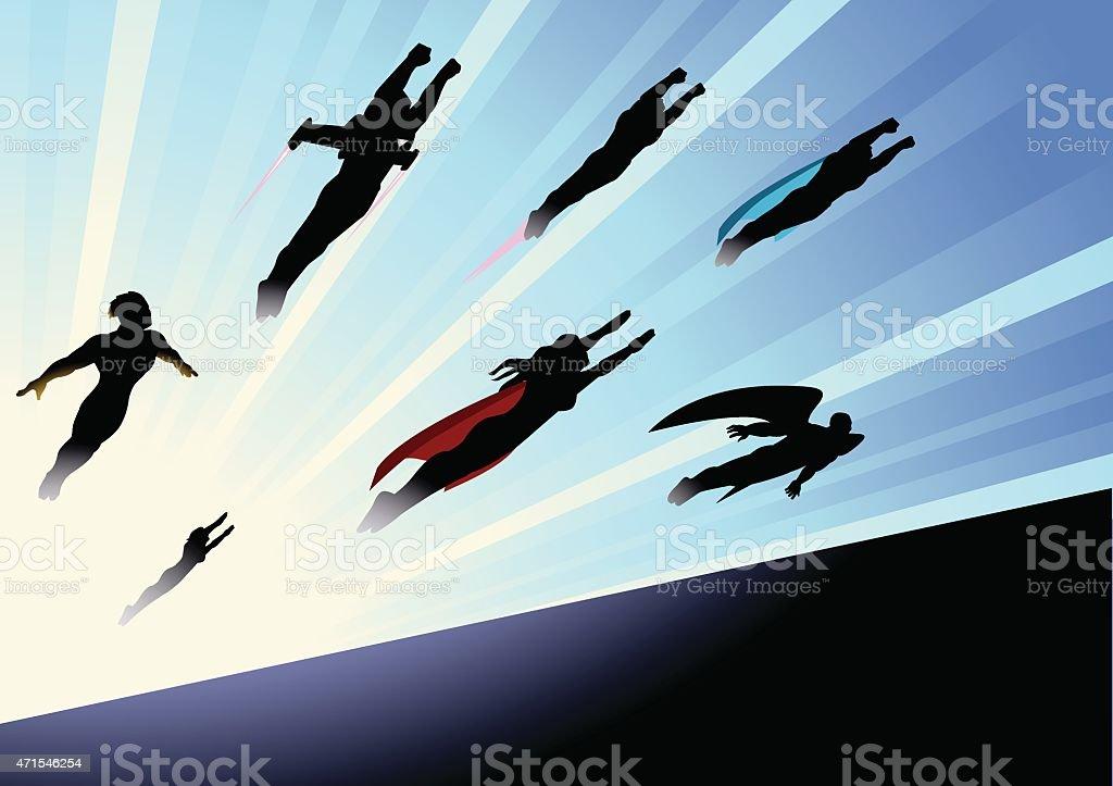 Vector Superheroes Team Flying Forward Silhouette vector art illustration