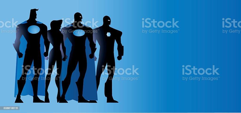 Vector Superheroes Unite Silhouette vector art illustration